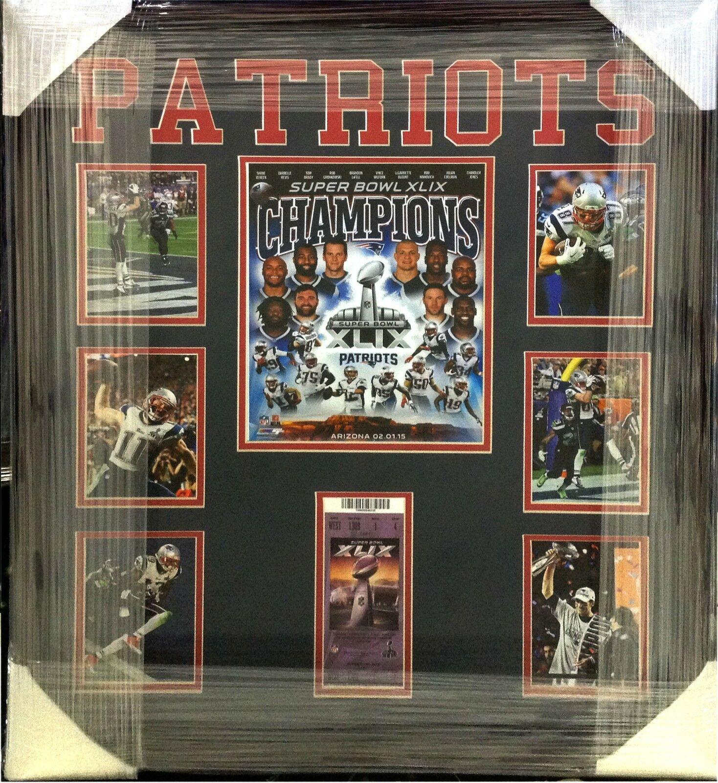 New England Patriots Super Bowl XLIX Champions Photo Collage Custom Framed 22×26