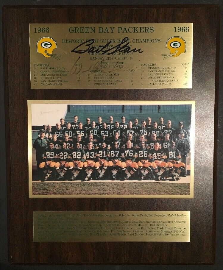 Green Bay Packers 1966 Super Bowl Team Photo Plaque Signed Bart Starr + Psa Coa