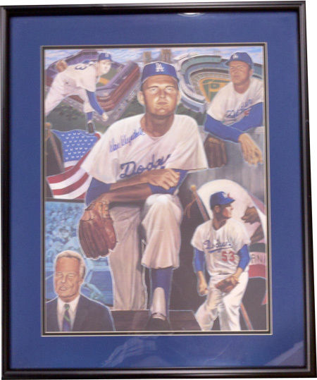 Don Drysdale Signed Framed Brooklyn Dodgers 16×20 Photo Litho CBM COA autograph