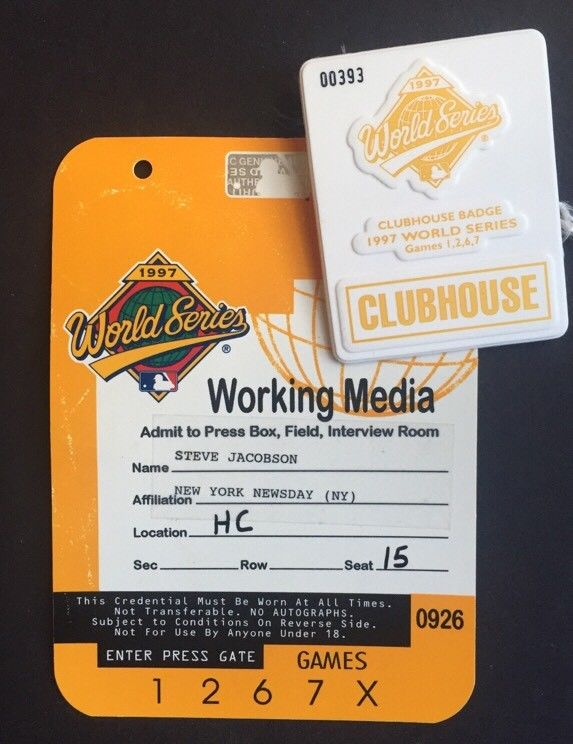 1997 World Series Media Press Pass Ticket & Clubhouse Badge Pin Florida Marlins