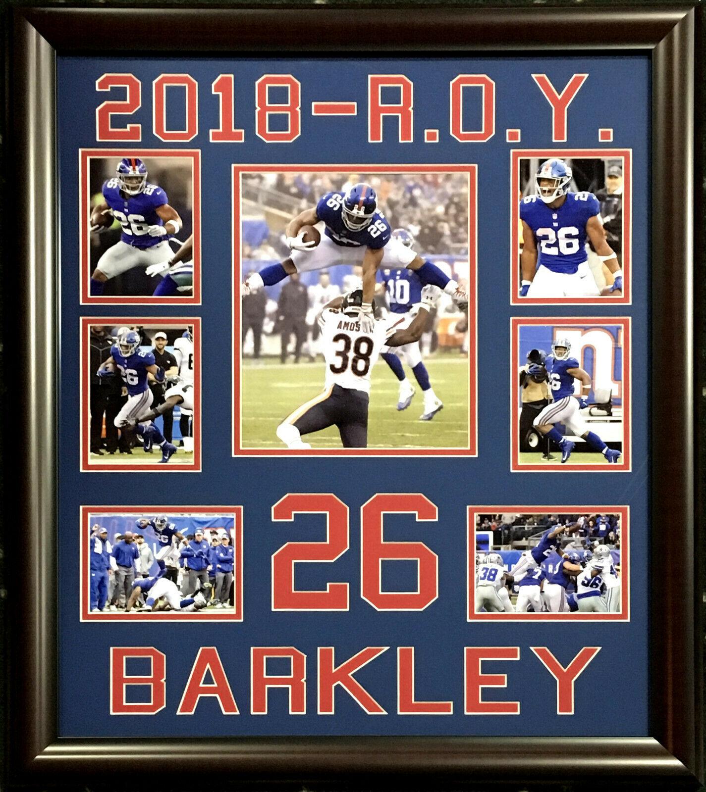 Saquon Barkley  #26 NY Giants RB 2018 ROY 7 photo framed 22×26 collage