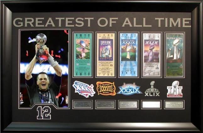 Tom Brady Patriots GOAT Trophy photo 5 ticket patch collage framed SB 51 MVP
