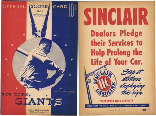 1943 New York Giants vs Brooklyn Dodgers Official Score Card at the Polo Grounds