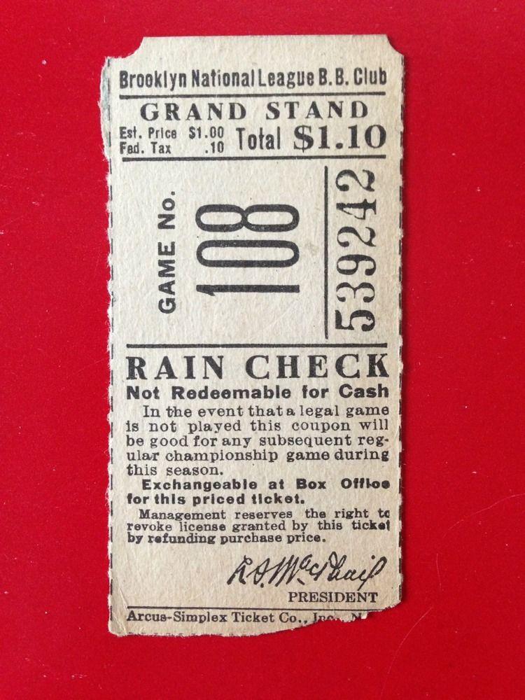 Brooklyn Dodgers Ebbets Field Ticket Stub Macphail Pres Vintage Rare