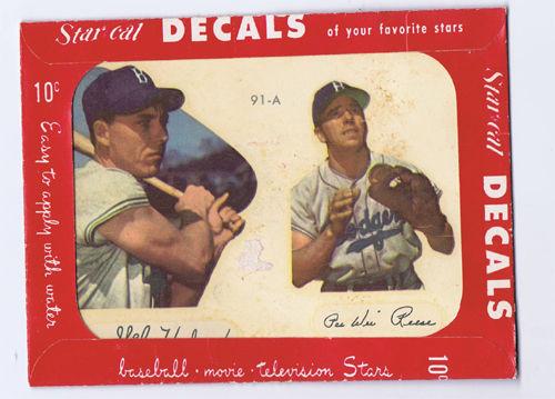 1952 Gil Hodges & Pee Wee Reese Star Cal Decal Brooklyn Dodgers card hof rare