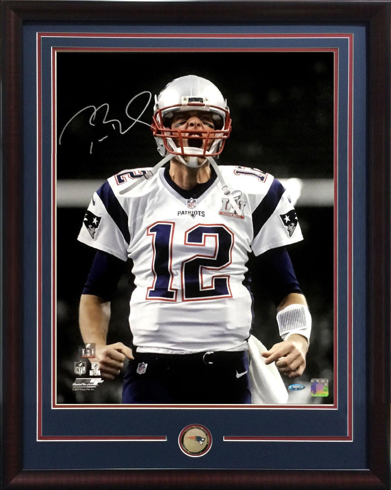 Tom Brady SB 51 MVP signed 16×20 scream photo framed Patriots coin auto tristar