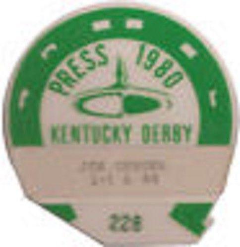 1980 Kentucky Derby Horse Racing Press Pass media ticket Genuine Risk winner