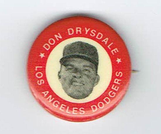 1969 Original MLBPA Don Drysdale Hat Pin Brooklyn Dodgers Gem Mint .8″