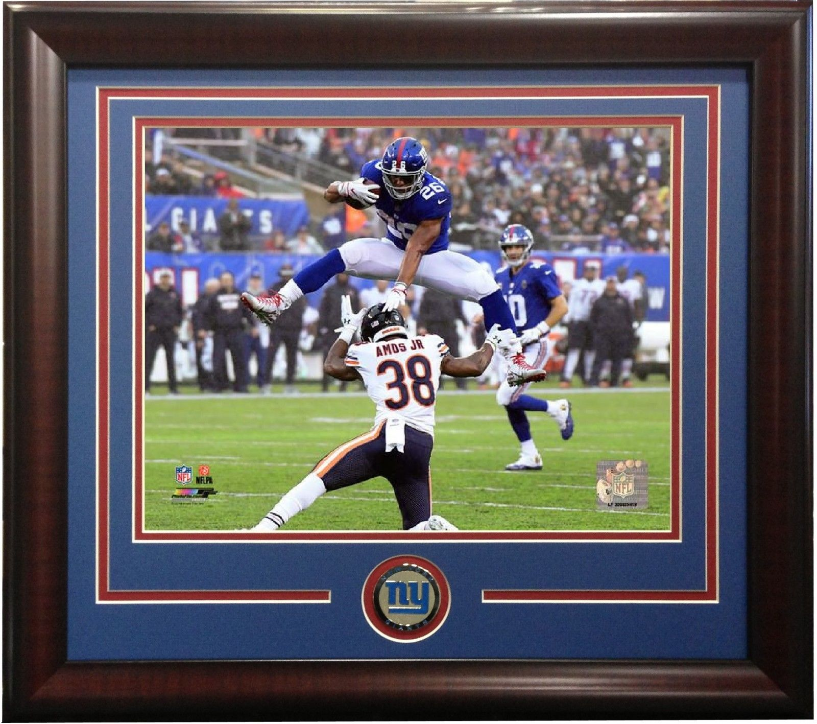 Saquon Barkley 8×10 Hurdle photo vs Bears framed Giants coin NFL ROY ?