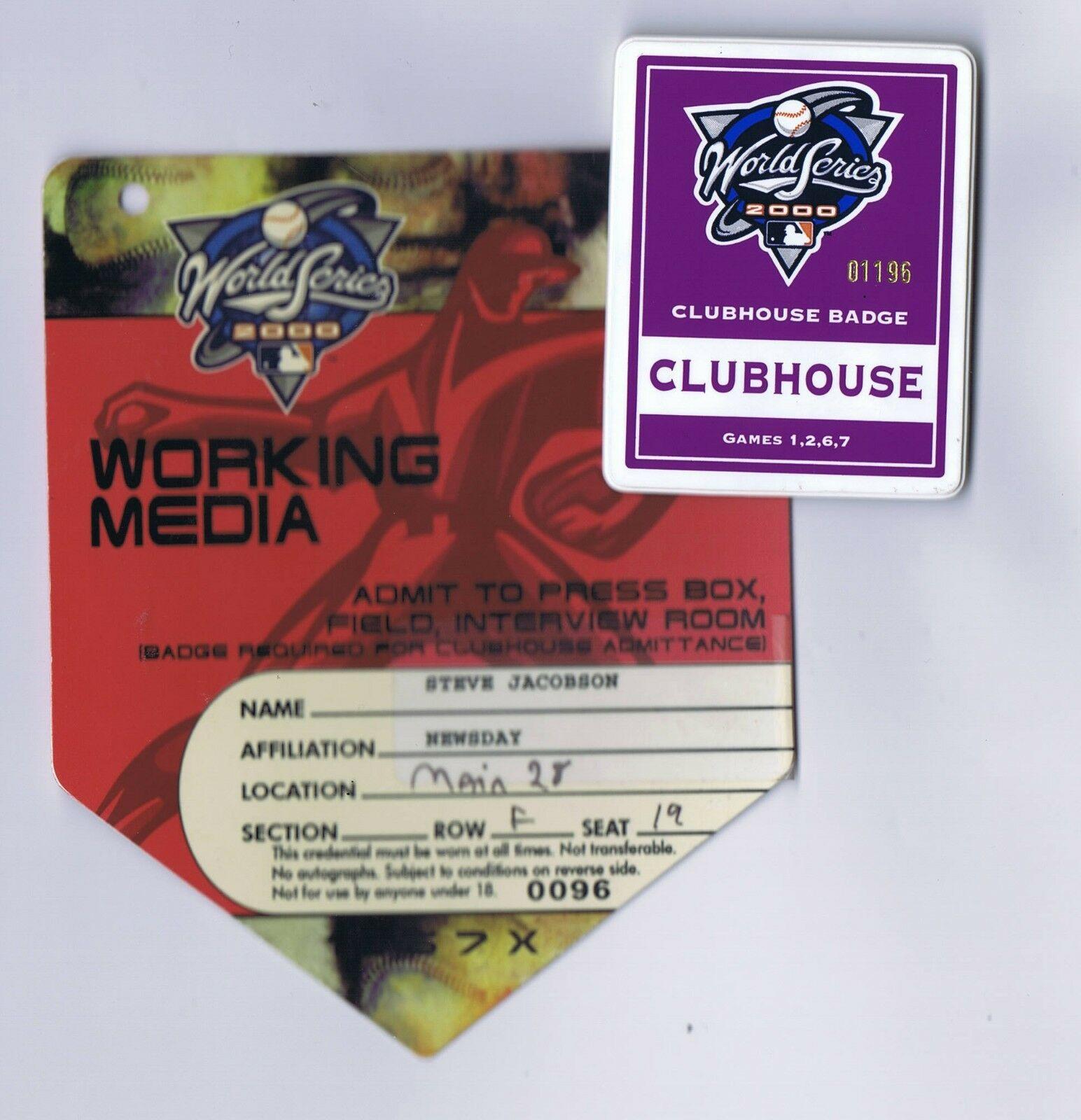 2000 World Series Media Yankees Press Pass & Clubhouse Badge Derek Jeter MVP