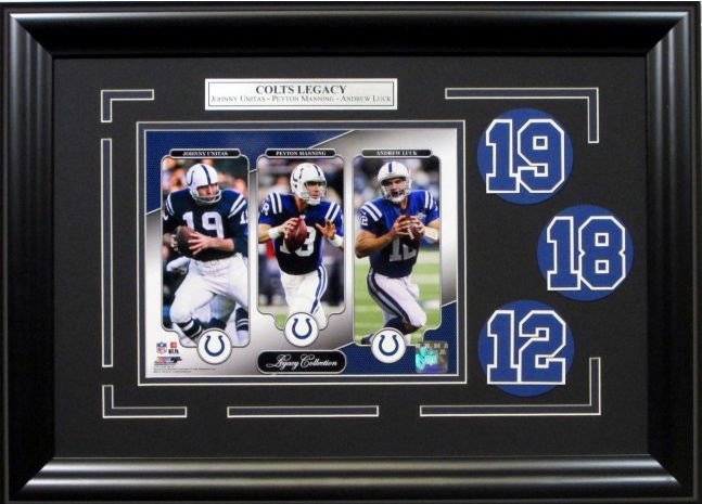 Indianapolis Colts Legacy Framed Photo Collage Peyton Manning Unitas Luck 17×23