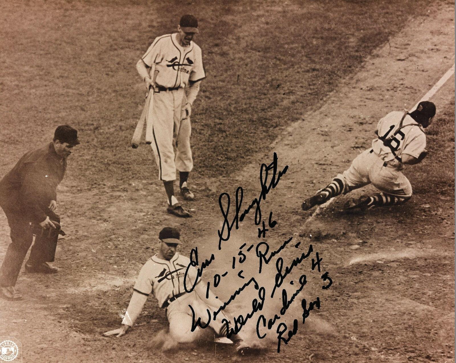 Enos Slaughter signed 8×10 Mad Dash ins 1946 World Series photo auto CBM COA