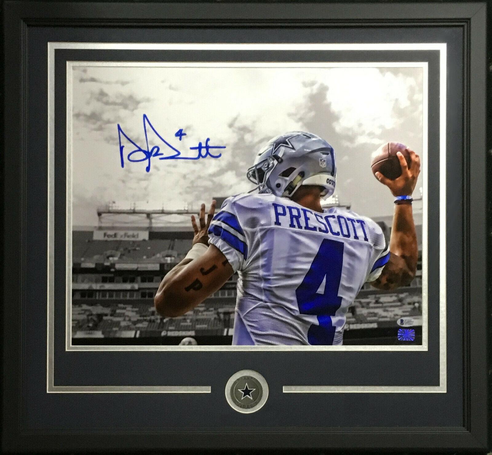 Dak Prescott signed 16×20 photo framed Cowboys coin mint auto Beckett BAS COA