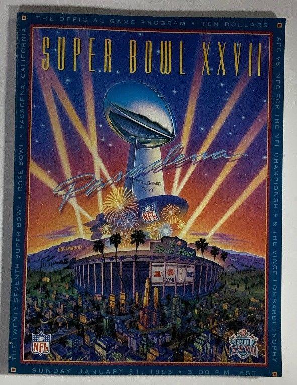 Super Bowl Official Program 1993 Dallas Cowboys Buffalo Bills Troy Aikman MVP