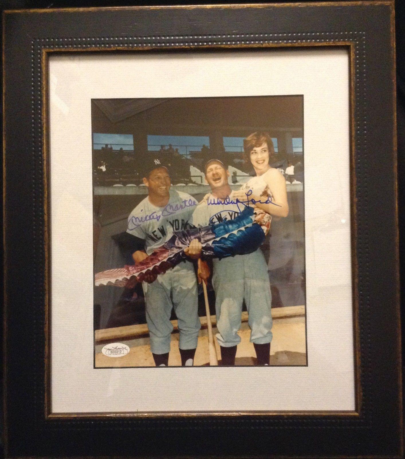 Mickey Mantle /  Whitey Ford Signed Mermaid 8×10 Framed Photo autograph JSA COA