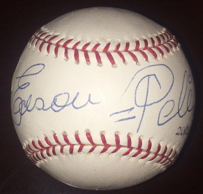 Edson = Pele Signed OML Baseball LE 20/20 Rare 1/1 Full Auto Grandstand Holo COA