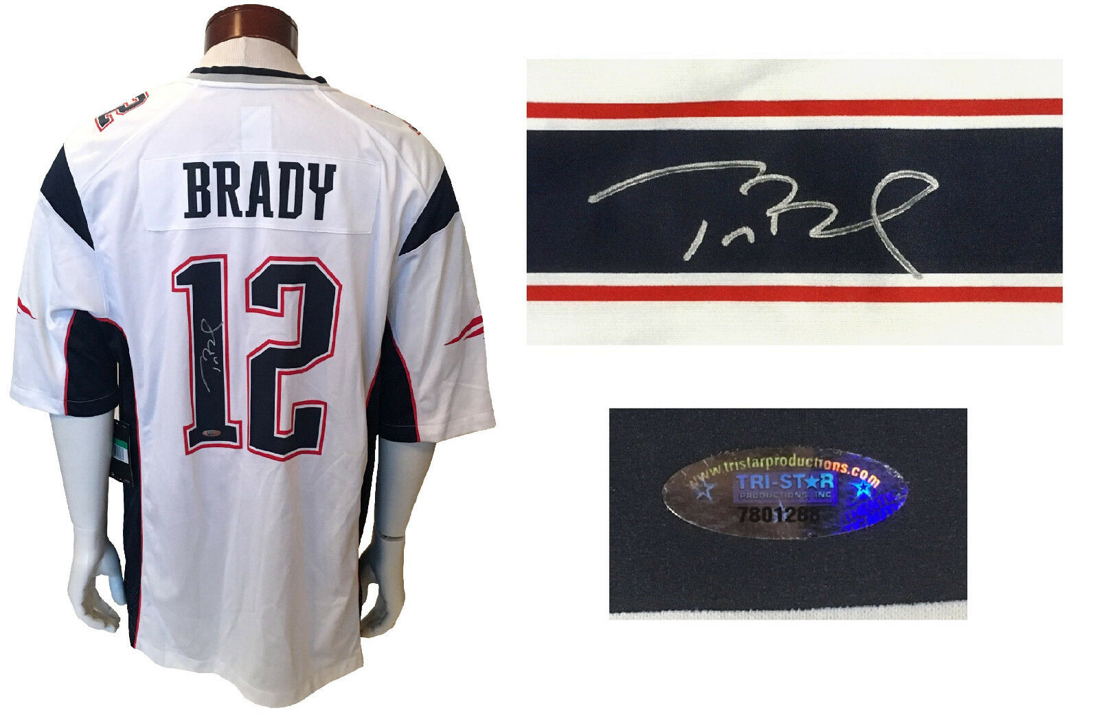 Tom Brady signed Nike New England Patriots #12 jersey autograph Tristar COA