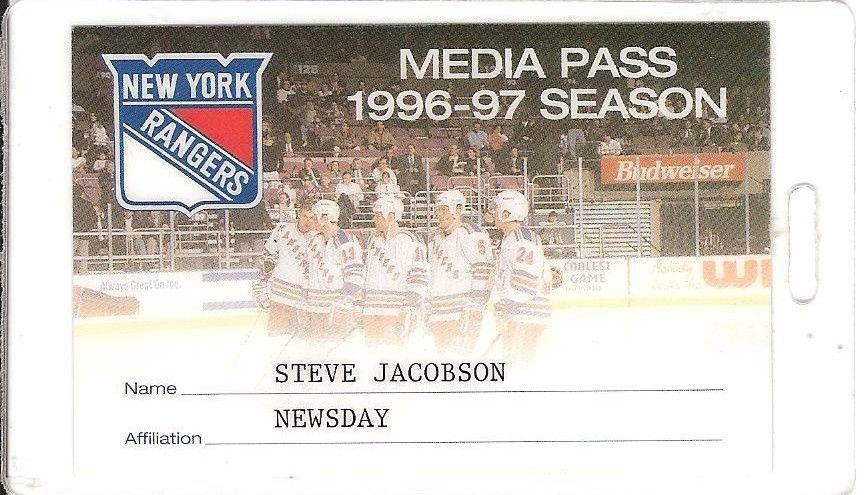 NY Rangers 1996-97 Season Media Press Pass Mint