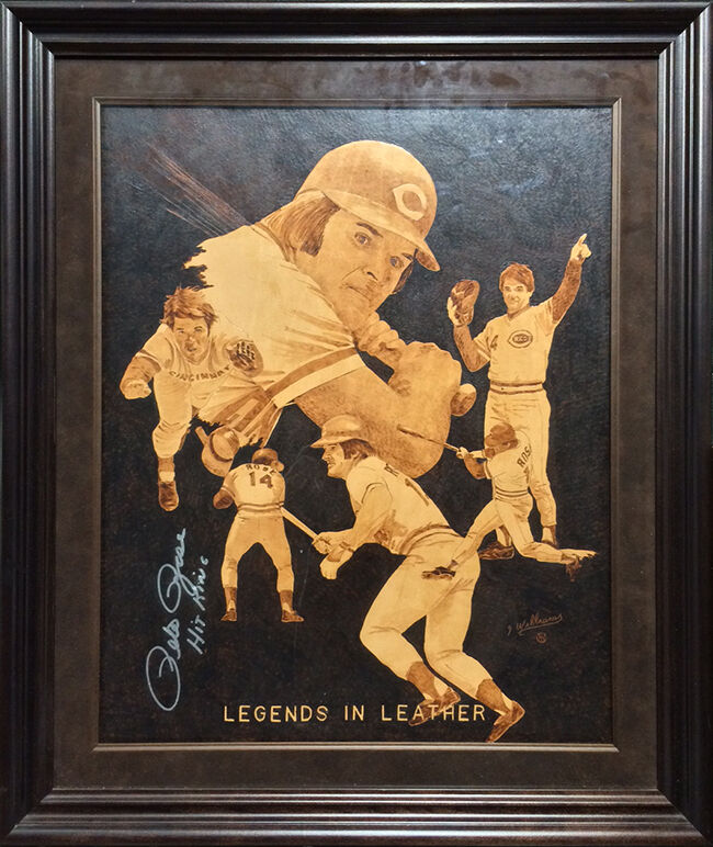 Pete Rose Signed Framed drawn Original Burned Leather 26×30 Artwork 1/1 Auto COA