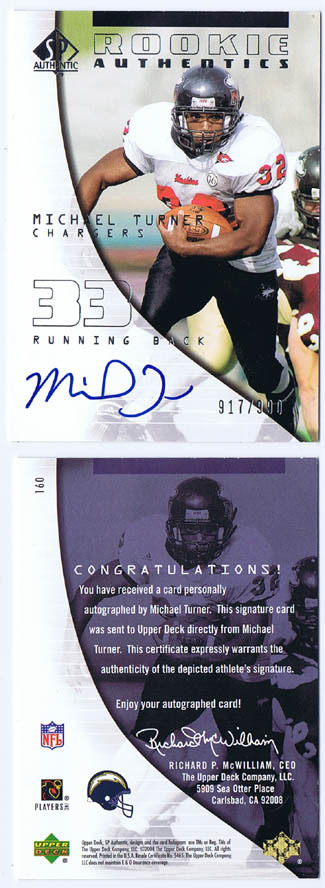 Michael Turner Signed 2004 SP Authentic RC Falcons Auto