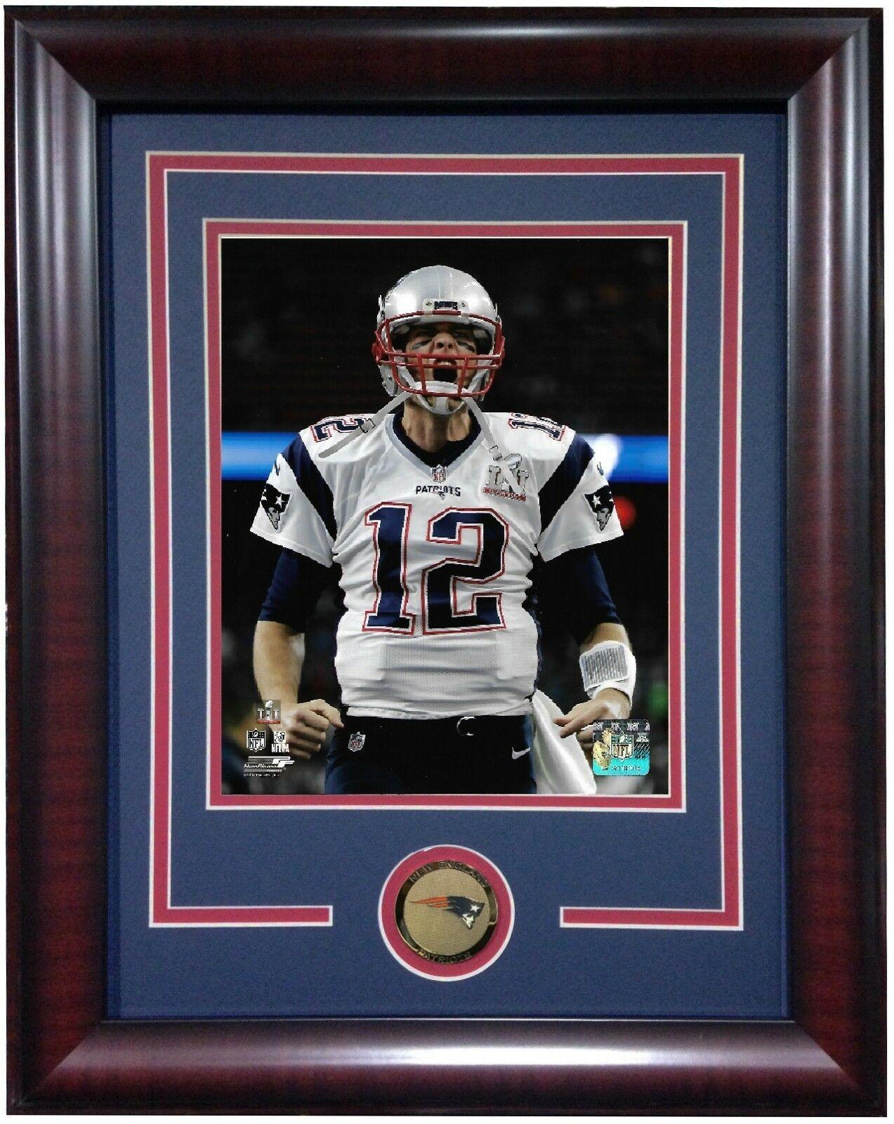 Tom Brady Super Bowl 51 MVP scream 8×10 photo framed Patriots Coin