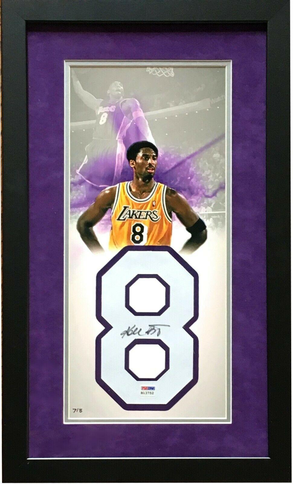 Kobe Bryant Signed Lakers #8 Jersey Number photo framed vintage auto PSA COA /8 (Copy)