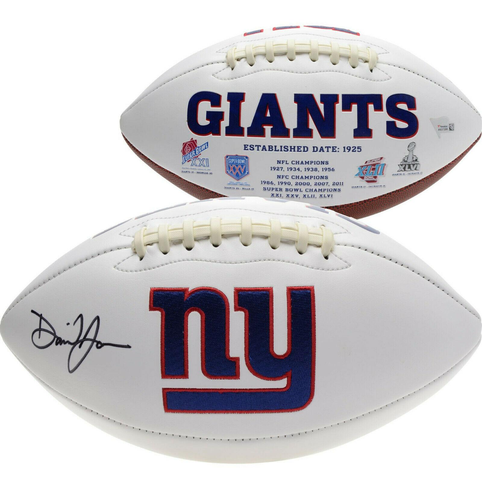 Daniel Jones signed NY Giants logo Football Rookie Autogrpah Fanatics COA