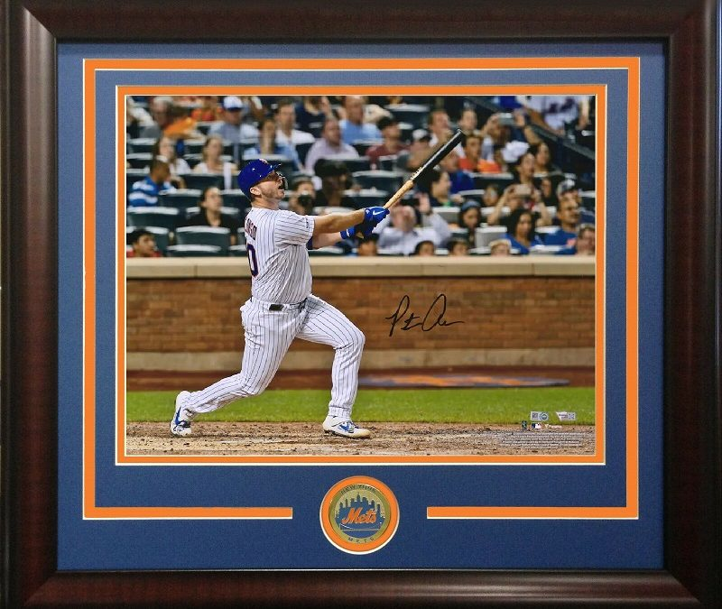 Pete Alonso signed 8×10 53rd HR Photo Framed Mets Coin Autograph Fanatics COA