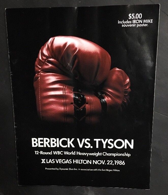 1986 BERBICK VS MIKE TYSON Boxing Championship Fight Program Signed Muhammad Ali