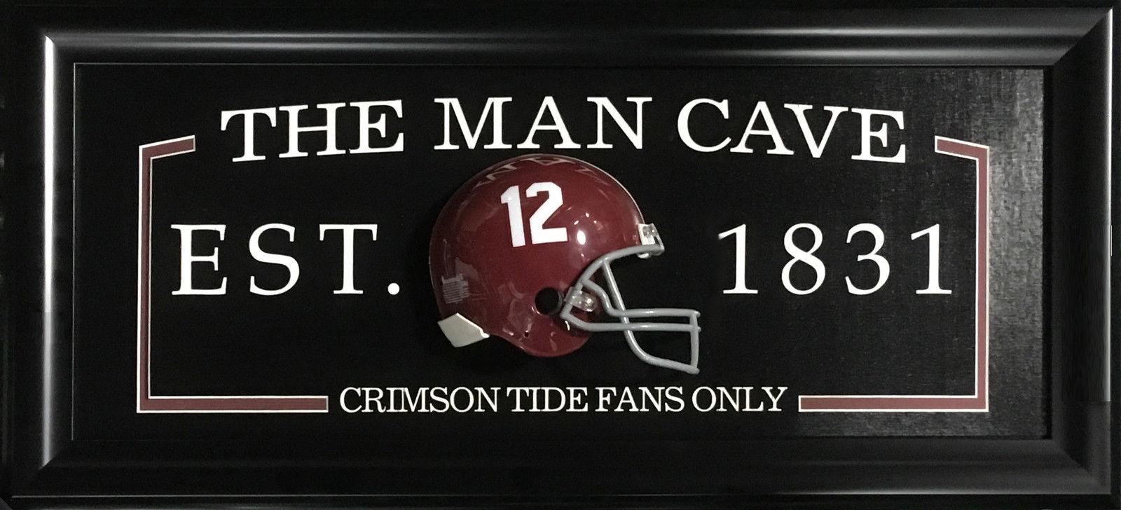 Alabama Crimson Tide FANS ONLY Man Cave Sign Framed 3D Mini Helmet 27×13 Namath