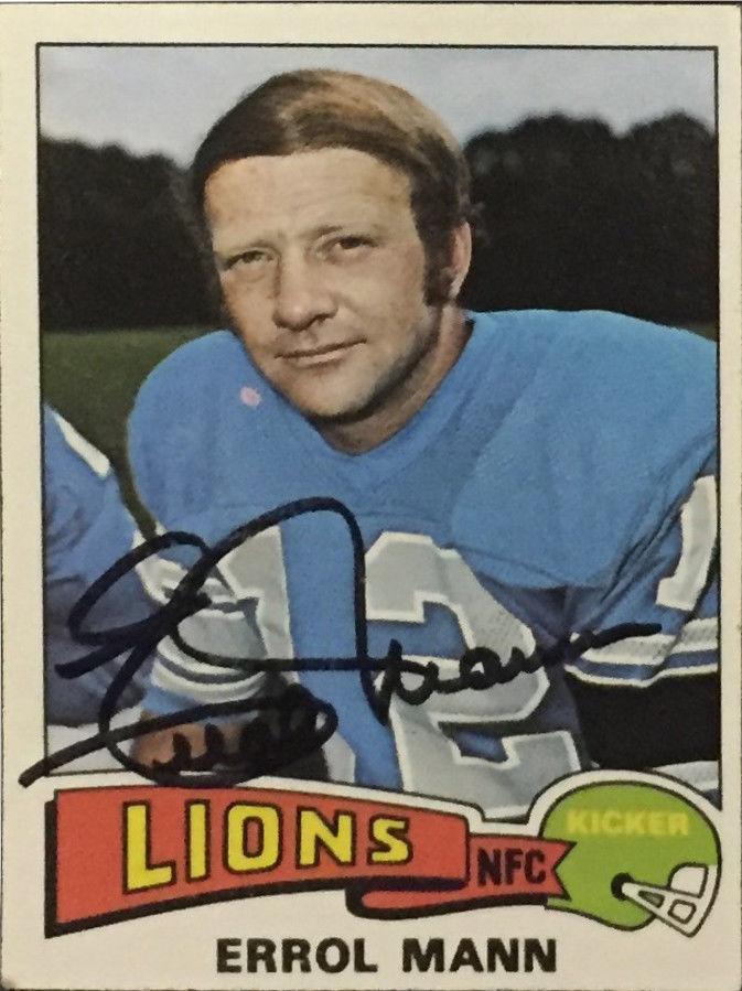 Errol Mann 1975 Topps Football Card #421 Signed Detroit Lions Auto CBM COA