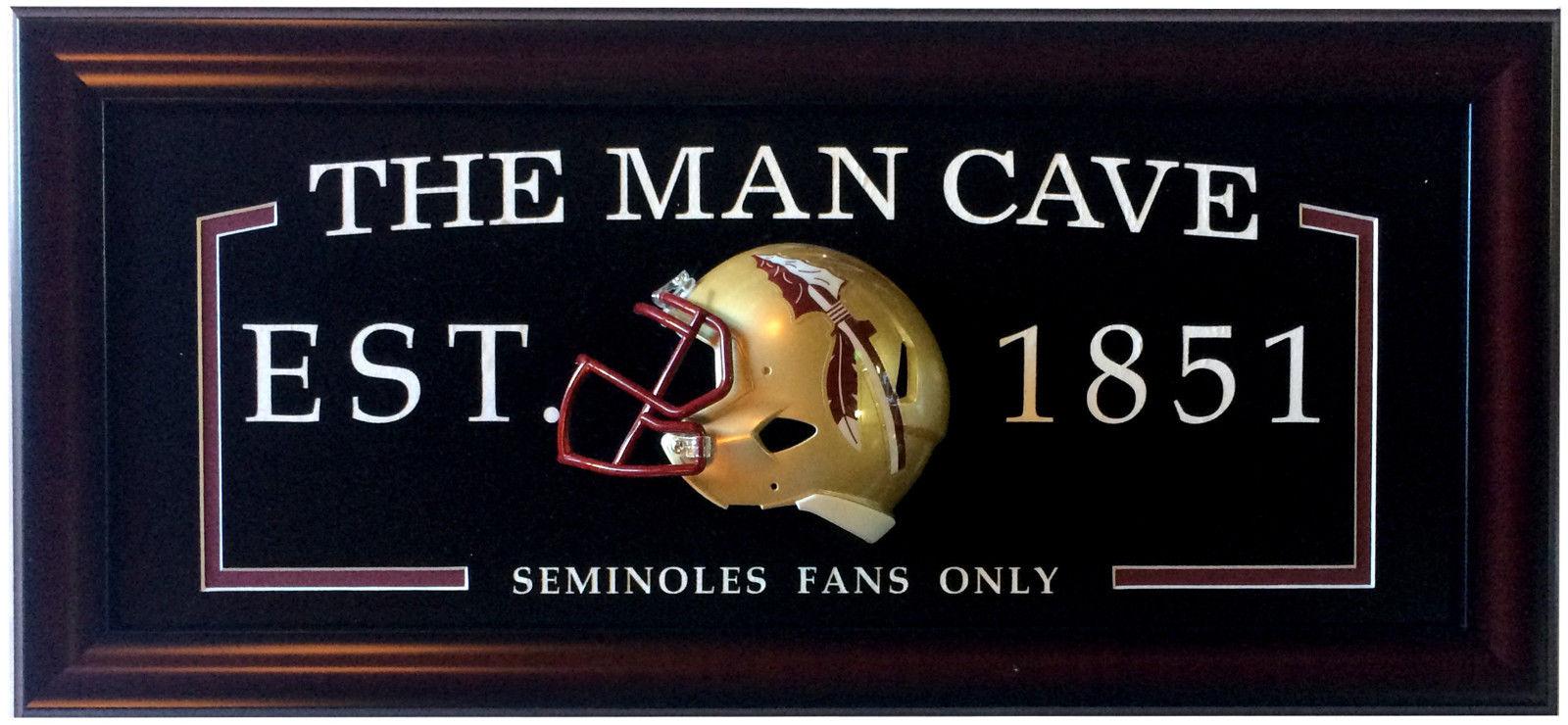 Florida State Seminoles Man Cave Sign Framed w/ 3D Football Mini Helmet 27×13