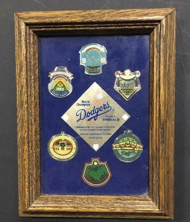 La Brooklyn Dodgers World Series Champion Baseball 6 Pin Set Mint Framed Unocal