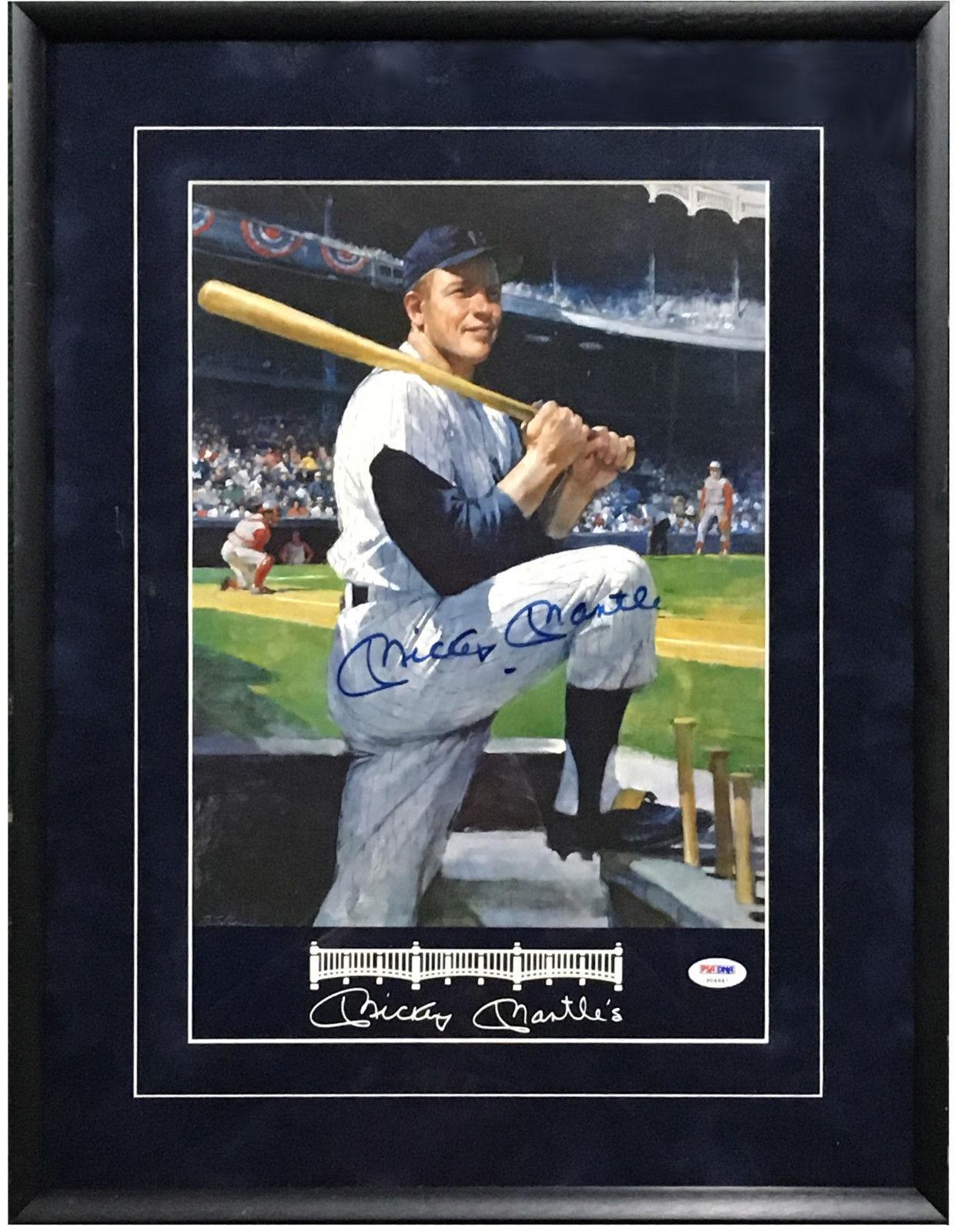 Mickey Mantle Yankees Signed restaurant menu framed autograph PSA/DNA LOA