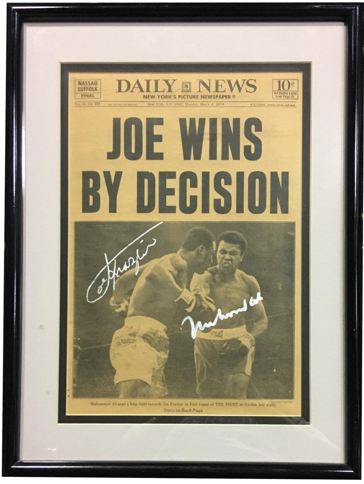 Muhammad Ali Joe Frazier signed 1971 Daily News Newspaper framed 2 auto CBM COA