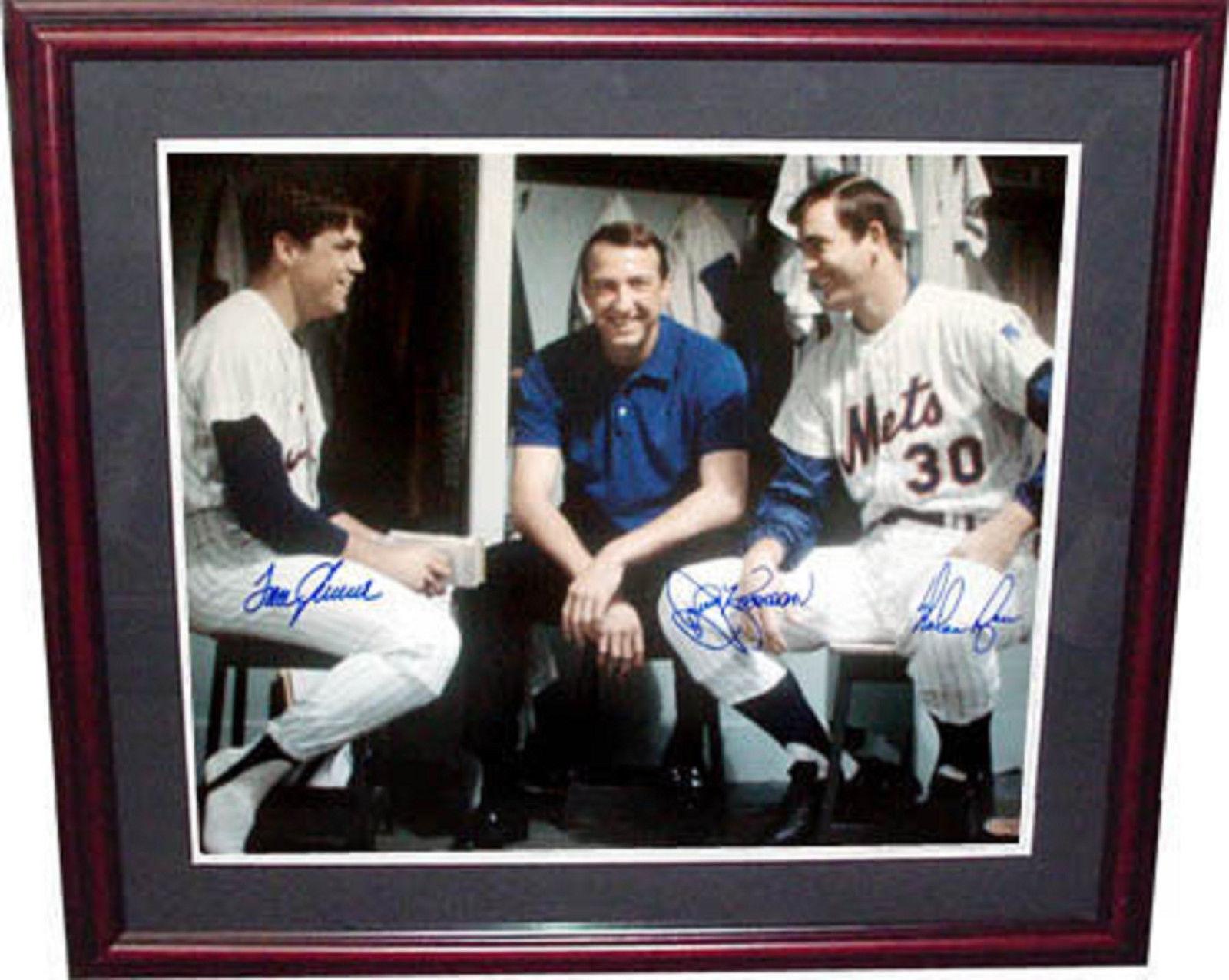 Nolan Ryan Tom Seaver Jerry Koosman 1969 Mets Signed Framed 16×20 Holo COA