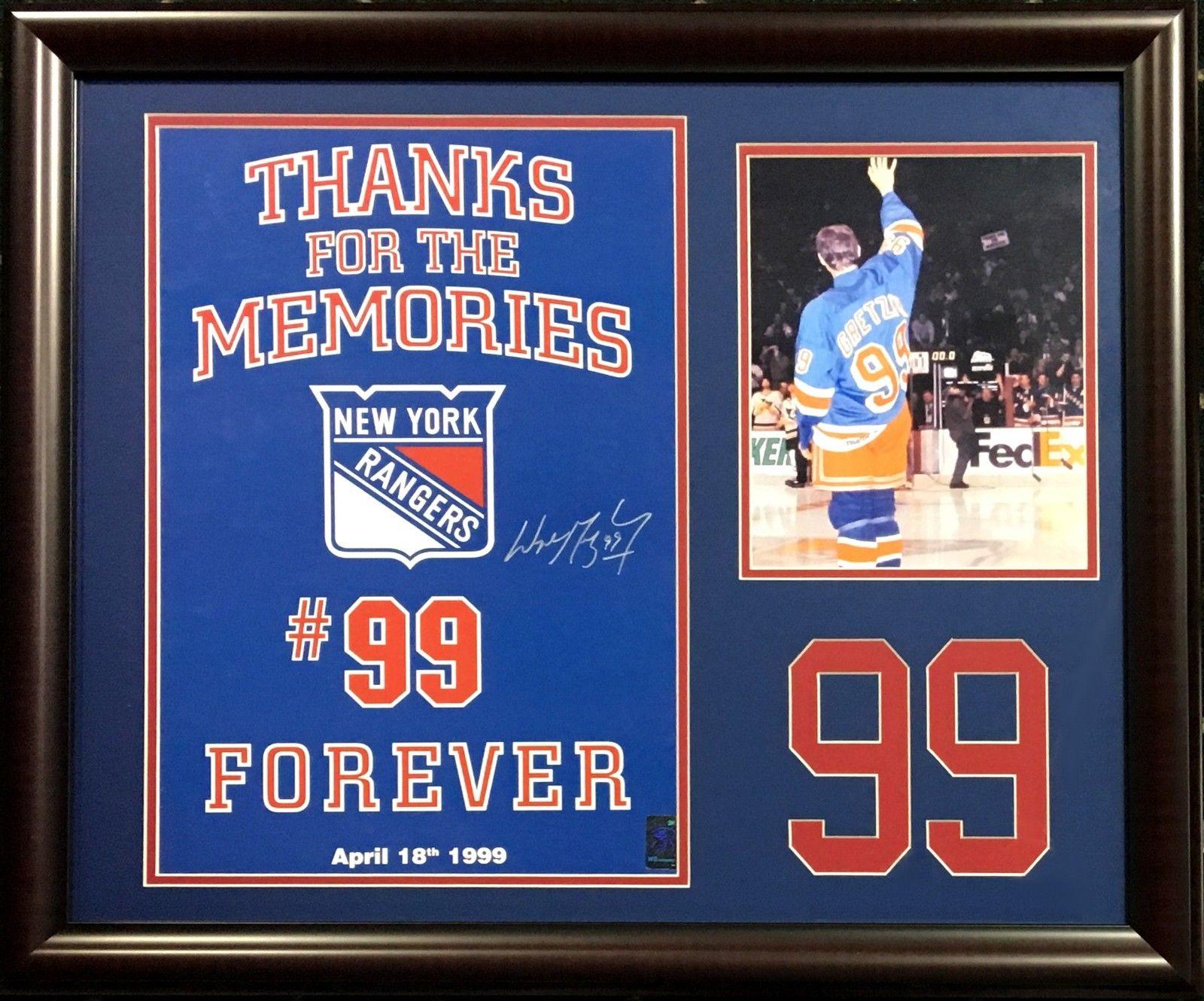 Wayne Gretzky signed Rangers poster 8×10 photo #99 Collage framed auto holo COA
