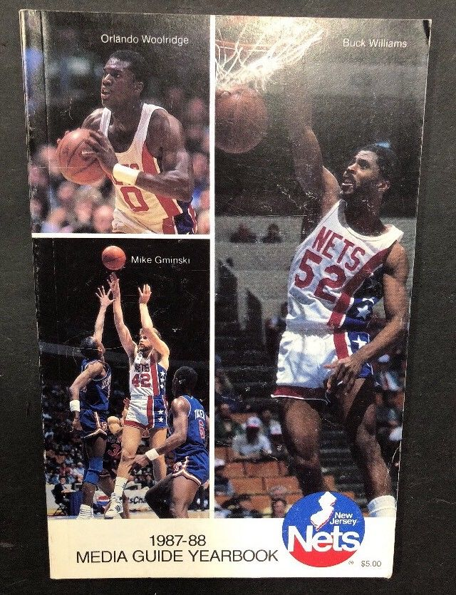 1987-88 Basketball New Jersey Nets Official Media Guide Yearbook Buck Williams