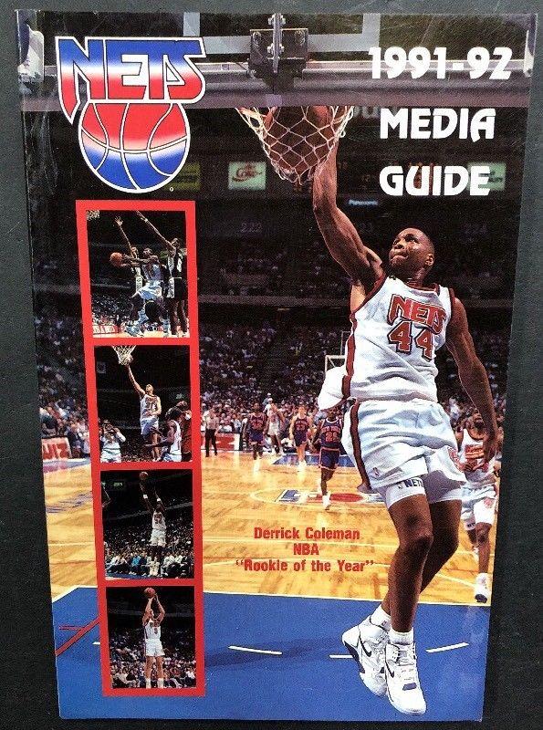 1991-92 Basketball New Jersey Nets Official Media Guide Derrick Coleman NBA ROTY
