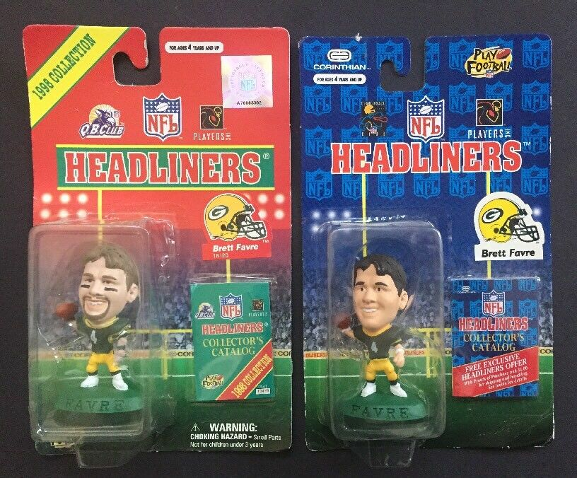 1996 & 1998 NFL Headliners BRETT FAVRE Green Bay Packers 2  Action Figure Lot