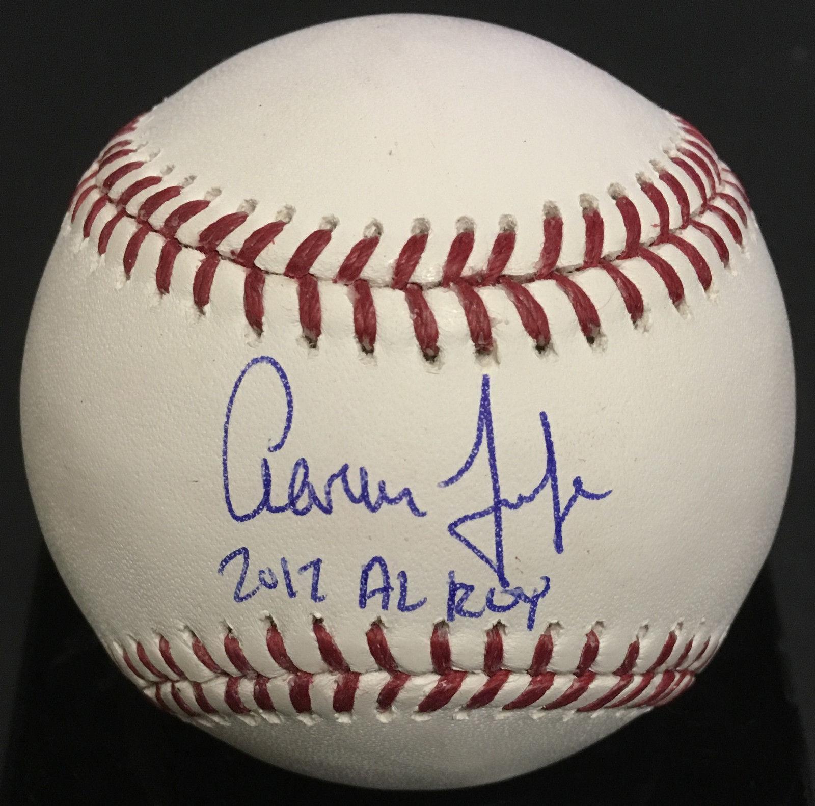 AARON JUDGE signed baseball ins 2017 AL ROY rookie auto fanatics MLB coa Yankees