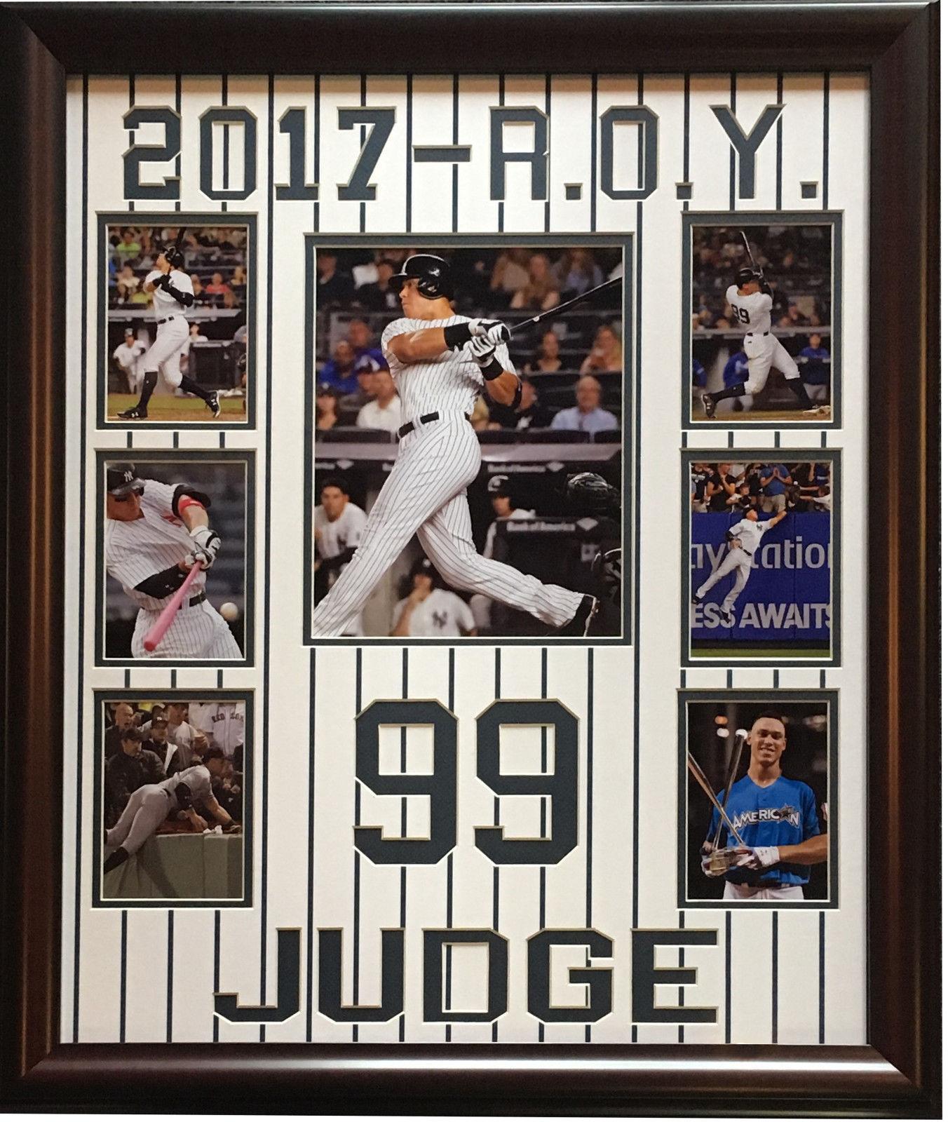 Aaron Judge Yankees 2017 AL ROY #99 7 photo pinstripe collage framed
