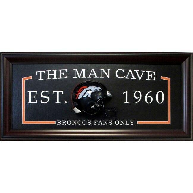 Denver Broncos FANS ONLY Man Cave Sign Framed 3D Football Mini Helmet 27×13