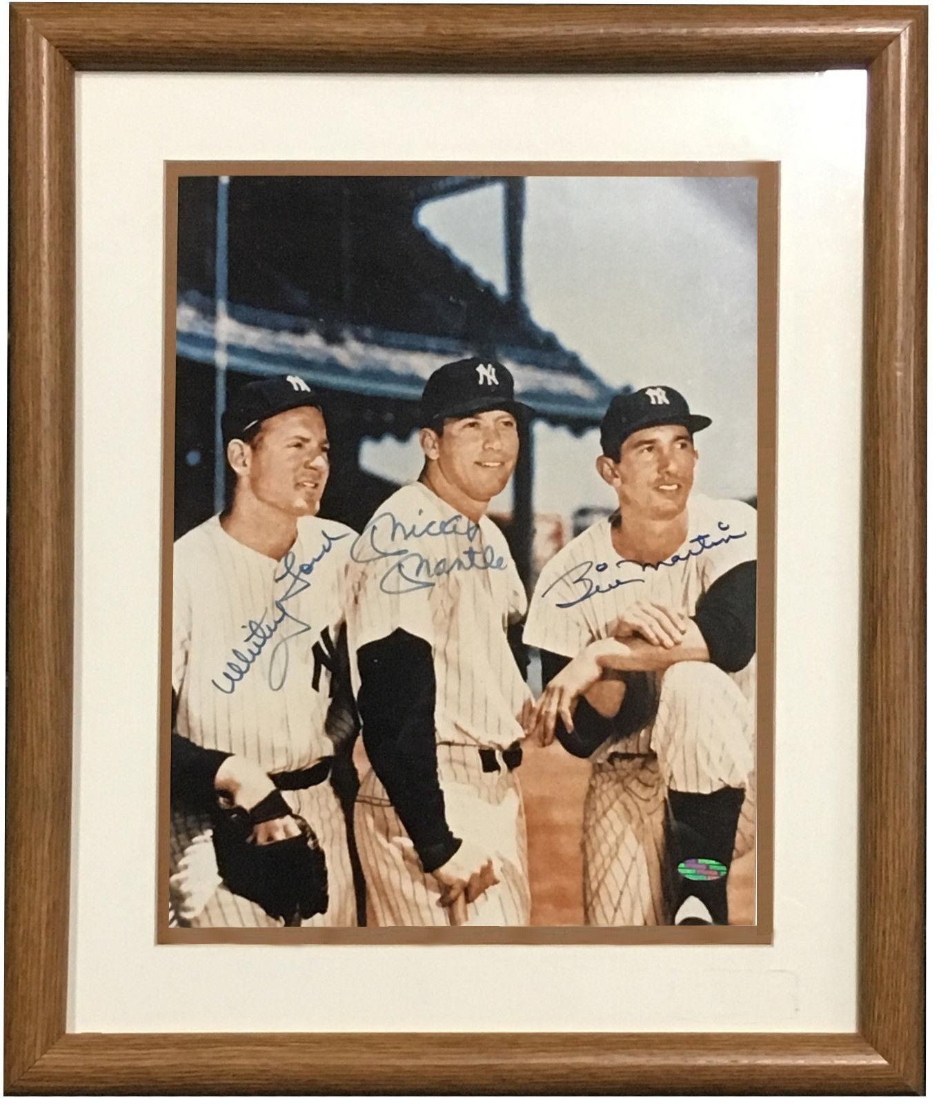 Mickey Mantle Whitey Ford Billy Martin signed 11×14 photo framed 3 auto steiner