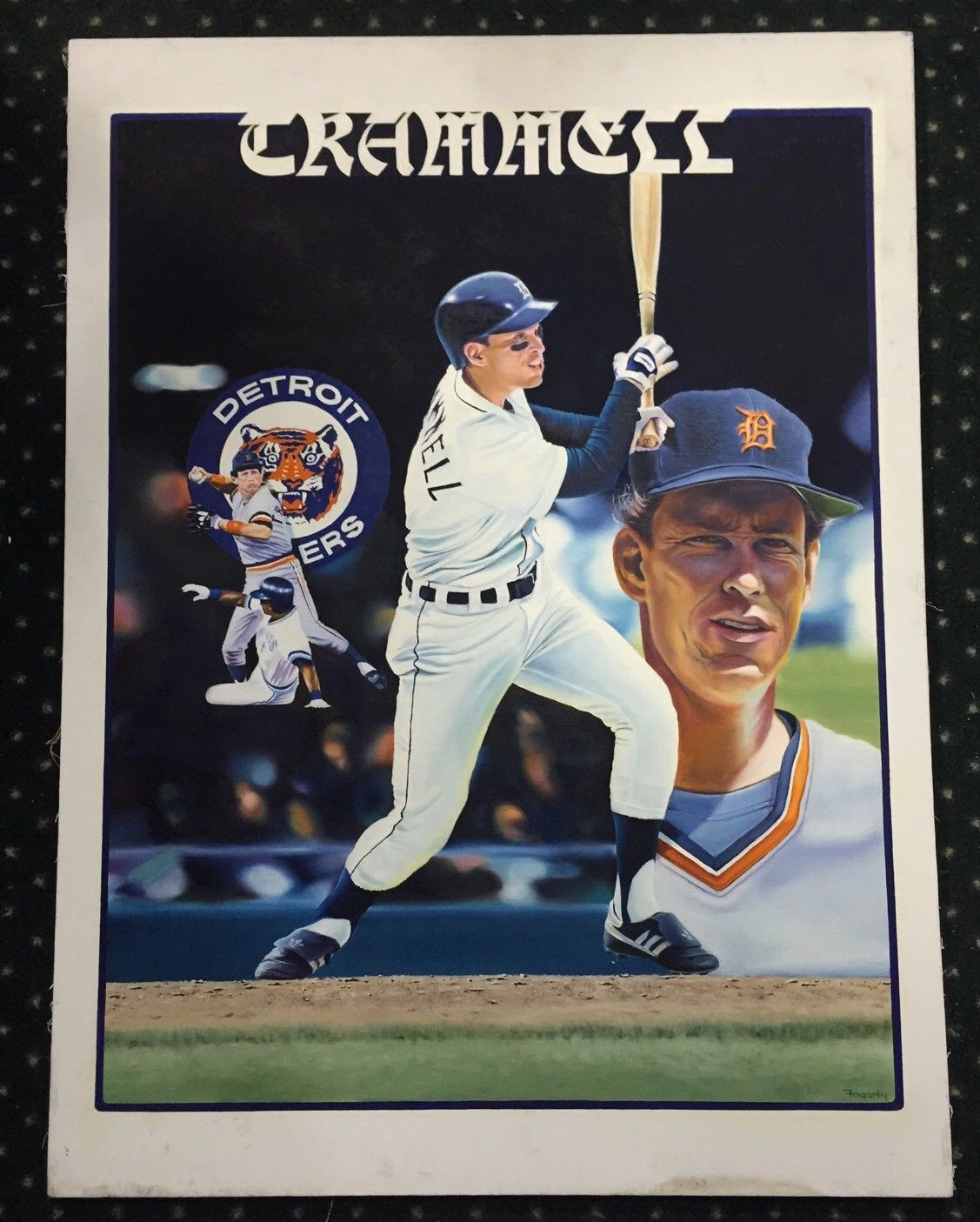 original Alan Trammel canvas Signed Terrance Fogarty painting auto Tigers 1/1