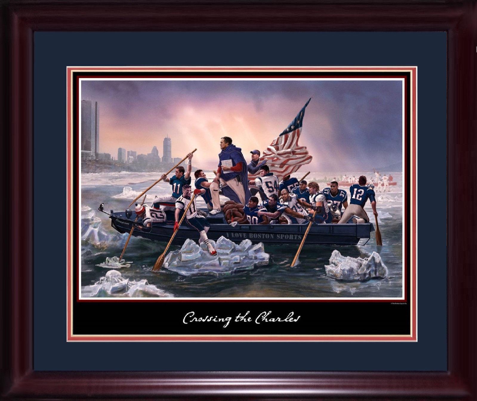 Patriots Boston crossing the charles 16×20 litho photo framed Tom Brady SB mvp