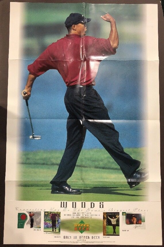 Tiger Woods Upper Deck 2001 Promo Original Poster 24 X 38 ROOKIE Window Sticker