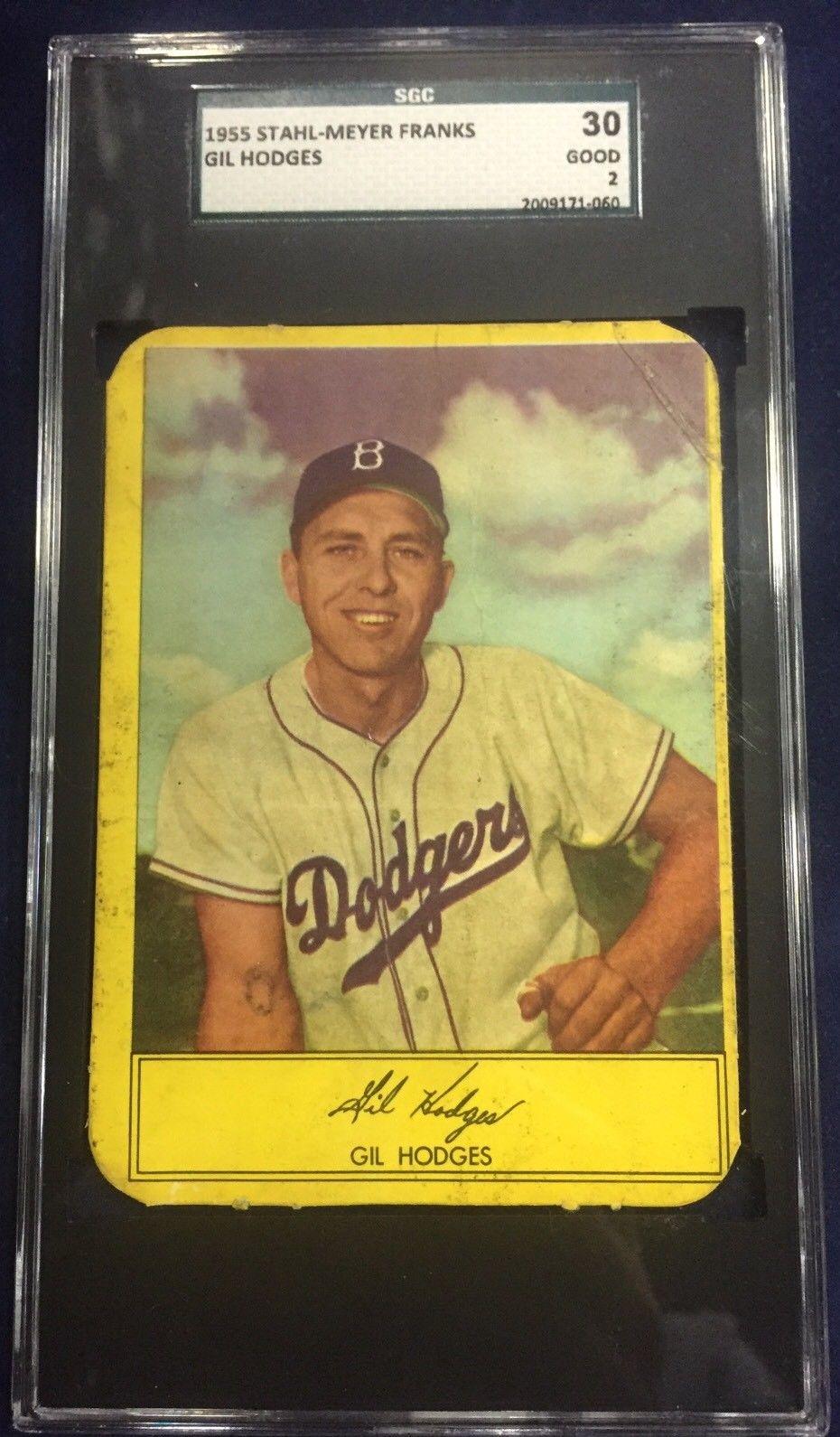 1955 Stahl-Meyer Franks Gil Hodges, Brooklyn Dodgers WS Card Sgc 2 Graded
