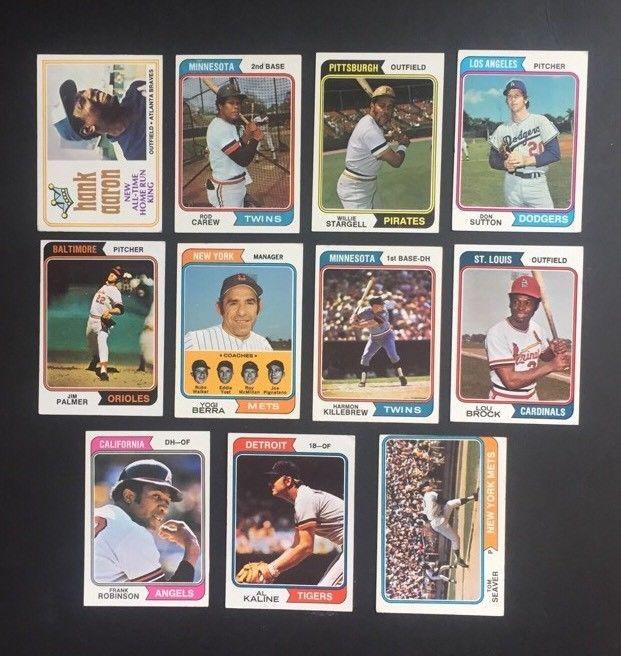 1974 TOPPS BASEBALL 11 CARD Hof LOT Hank Aaron Carew Tom Seaver Berra Ex – Nm