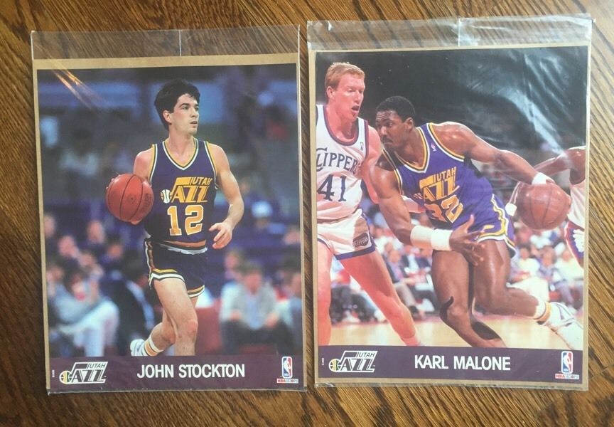 1990 NBA Hoops 8×10 Photo John Stockton & Karl Malone Photos Utah Jazz Hof Combo